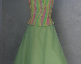 Retro A-Line Empire Strapless Sequins & Tulle Ballerina Mynt Dress Evening Gown