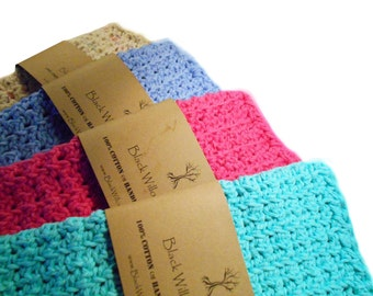 Natural Washcloths, Set of 4, Washcloth, Eco Friendly, Crochet Washcloth, Cotton, Natural, Cotton Wash Cloth, Knit Face Cloth, Gift for Her