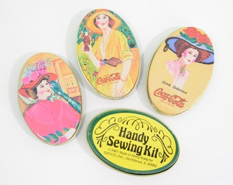 Coca Cola Promotional Sewing Kit - Handy Sewing Kit Giftco Miniature Tin Made in Hong Kong Coke Products Advertisement Metal Lady Victorian