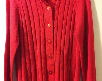 Vintage Miss K Red Cardigan Sweater size 38