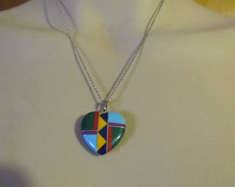 Vintage Sterling Silver Zuni Inlaid Turquoise Malachite Onyx, Etc. Heart Pendant Necklace