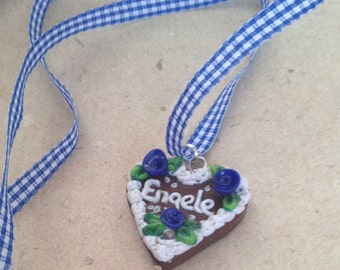 "Necklace ""Engele"" blue Gingerbread Heart Oktoberfest small"