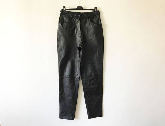 High Waisted Black Leather Pants Womens Genuine Leather Trousers Biker Motorcycle Rockstar Leather Fetish Bike Club Pants Size Large Pants MdsW4Bz