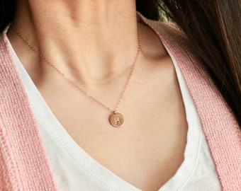 Simple Daily Jewelry, Custom Monogram Initial Necklace, Disc Charm Gold Filled Necklace, Bridesmaid, Valentine Gifts 806-73