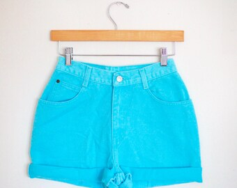Vintage 80s/90s Gitano Light Blue Teal Turquoise High Waisted Rise Cut Offs Cuffed Rolled Jean Denim Shorts – Size 23/24