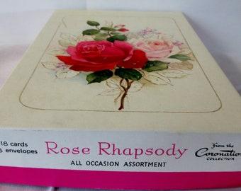 Vintage  CORONATION  Rose Rhapsody All Occasion  Assortment of 15 Unused Greeting Cards Paper Ephemera in Original Box