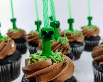 Minecraft Creeper - Birthday Candle Holder - Cake Topper - Theme Birthday - Minecraft Decor - Cupcake Topper