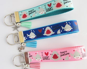 Shark Key Fob - I Love Sharks Key Fob - Shark Keychain - Fish Key Fob - Jaws Key Fob - Shark Lover Gift- Shark Wristlet - Jawesome Shark
