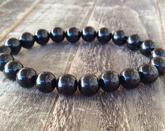 Black Tourmaline Bracelet   Schorl Bracelet   Reiki Healing   Crystal Energy   Chakra Bracelet   Beaded Bracelet   Metaphysical