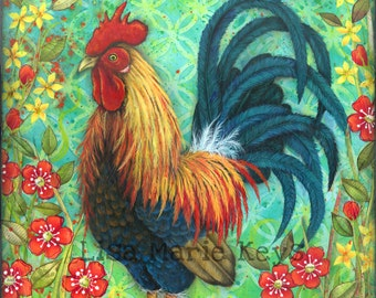 Rooster Art Print, Colorful Rooster, Kitchen Wall Art, Rooster Decor, Farmhouse Decor