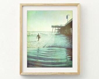 California Beach Photograph - Ocean Pier Print - Vintage Style - Surfer Wall Art - Gift for Him - Blue Green Wall Art -  'Afternoon Ride'