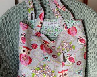 Owl Tote Bag - Shopping Bag - Strong Tote Bag - Ideal Gift - Craft Bag - Lightweight Bag - Reusable Bag - Handmade Bag - Market Bag