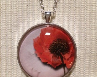 Red Poppy Pendant Necklace