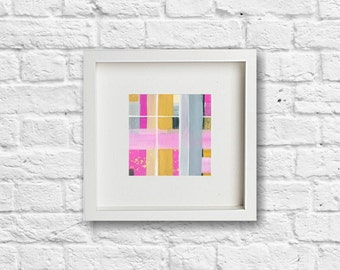 Strawberry Fields. Abstract Painting. Small Painting. Geometric. Lines. Contemporary Art. Modern Art.