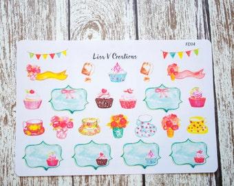 FD14: Tea & Cupcakes planner stickers for Erin Condren Life Planner ECLP, Inkwell Press IWP, Day Designer, Happy Planner, Bujo