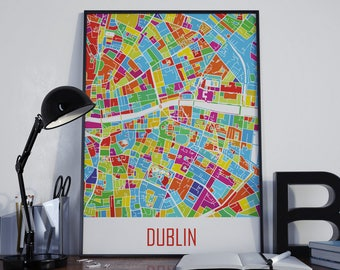 Dublin Map Dublin Watercolor Dublin Travel Map Dublin Street Map Dublin City Map Dublin Map Poster Dublin Map Photo Dublin Map Print Dublin
