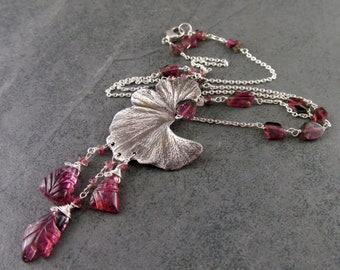 Pink tourmaline & gingko leaf necklace, handmade eco friendly fine silver and watermelon tourmaline OOAK October birthstone