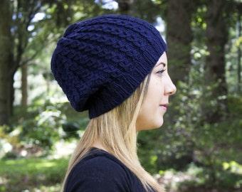 Navy Blue Slouchy Knit Hat - Blue Vegan Hat - Boho Hat - Hipster Hat - Hippie Hat - Womens Tam - Mens Beanie - Unisex Hat - Acrylic Handknit