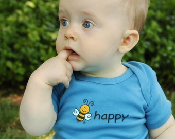 BEE HAPPY Organic Baby Bodysuit, 2 Sided Screen Print, Bee Happy Front, Bee On Back, Unisex Short Sleeve, 3-6M and 6-12M, Various Colors