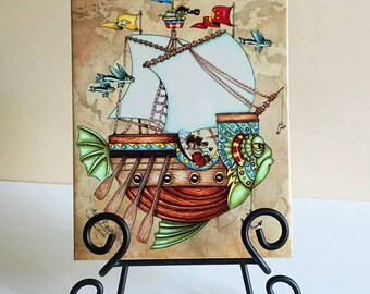 Art Tile, Fantasy Fish Boat. Original 8 x 10 illustrated steampunk splash tile, wall décor for home, beach house, bathroom or kitchen.