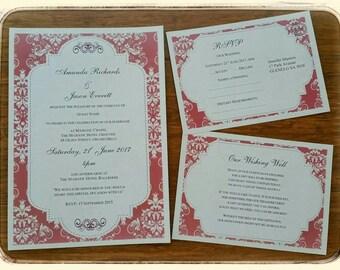 Editable Printable Vintage Plum Damask Wedding Engagement Event Invitation Template, Download Set - Invite, RSVP, Wishing Well or Info Card