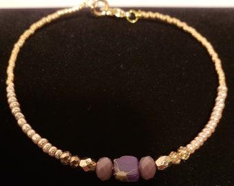 Purple Lilac Mini Square Beaded Bracelet