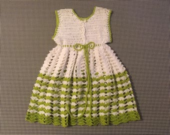 1980's, empire waist, sleeveless, babydoll, hand crocheted, sweater, in white, with avocado, Women's size Small