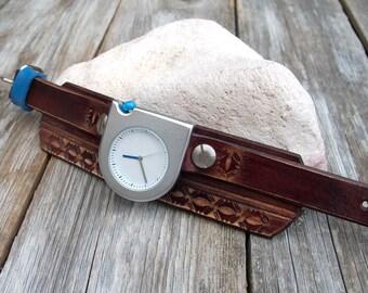 Leather watch, Men/Women Leather cuff watch, Leather Wrist Watch, Unique Style matte silver wrist watch, Minimal style watches