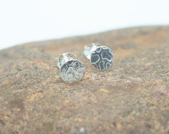 Tiny sterling silver post earrings, reptile pattern, OOAK, ready to ship