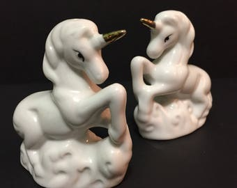 Unicorn Salt and Pepper Shakers Ceramic Gold Horn Magical Made in Taiwan Mystical Creature Mythical