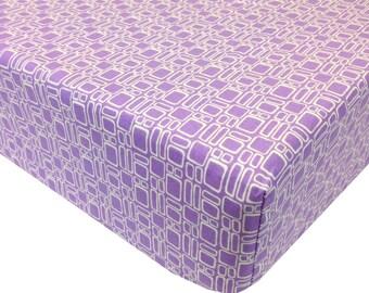 reg. price 26.00 Squares Lavender Crib Sheet