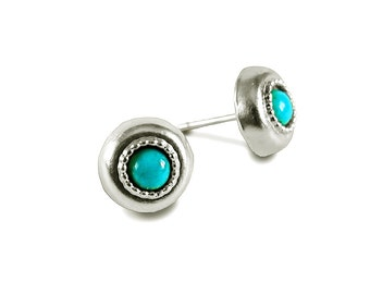 Turquoise Earring, Stud Earring Turquoise, Silver Earrings, Bohemian Jewelry, Turquoise Jewelry, Blue Earring, December Birthstone Earrings