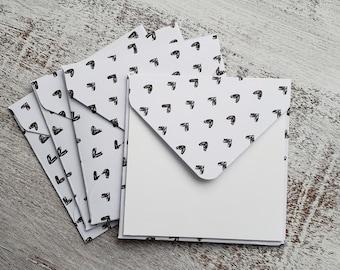 Mini Envelopes // Set of 4 // Heart Envelopes // 3x3 Envelopes // Thank You Cards // Just a Note