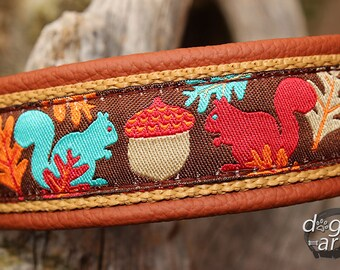 """Dog Collar """"Squirrels"""" by dogs-art for Boy/Girl Dog. Can be made into a Buckle or Martingale Collar, boy dog collar, leather dog collar"""