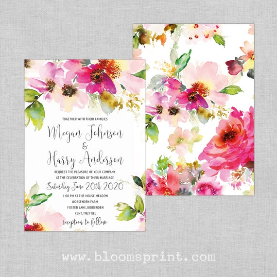 Watercolor wedding invitation template, Bohemian floral wedding invitations, Elegant modern wedding invitations, Boho chic wedding invites