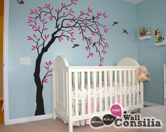 """Baby Nursery Wall Decals - Willow Trees Decal - Tree Wall Decal - Tree Wall Decals - Tree Wall Decal with Birds - Large: appx. 58""""x85"""" KC028"""