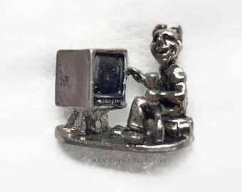 Get Me a Beer Lazy TV Man Kinda Guy Cufflinks Mid Century Modern Accessories Gift 1960's Humor Funny Figural Personality Trait