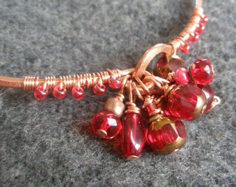 Juicy Pomegranate Red Glass and Hammered Eco Copper Bangle Bracelet