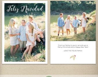 5x7 Feliz Navidad Card Template, Christmas Card, Christmas Photo Card, Card with Pictures, Simple, Clean - H54