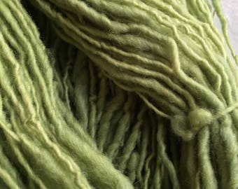 Pistachio Green Bulky Single Ply Hand Spun Yarn