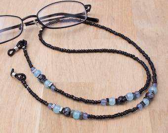 Glasses chain - Snowflake obsidian, hematite and blue bead eyeglasses neck cord | Black Eyeglasses chain | Gemstone eyewear accessories