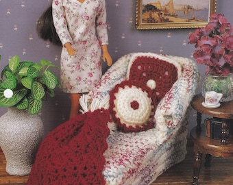 Cozy Evenings, Annie's Attic Fashion Doll Crochet Pattern  Club Leaflet FCC12-02