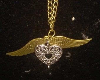Heart and Wing Necklace