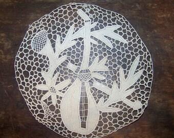 Antique Handmade Italian Needlelace Mandolin Flowers Leaves