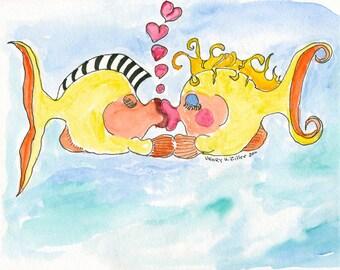 kissing fish, artzee, watercolor print