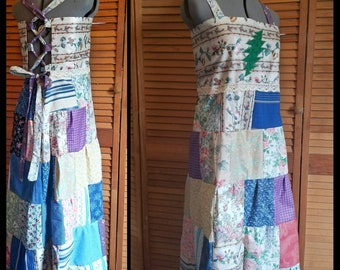 Classic Grateful Dead Apron Dress Patchwork Hippie Festival