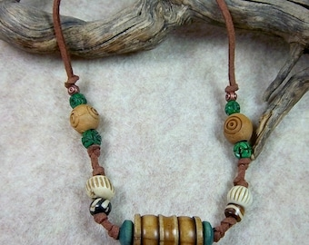 Men's Bone and Wood Necklace, Golden Brown Bone Focal, Bone Beads, Green Wood Beads, Brown Suede, Gift for Him
