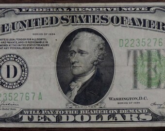 Series 1934  Ten Dollar Green Seal Federal Reserve Note - 767 A