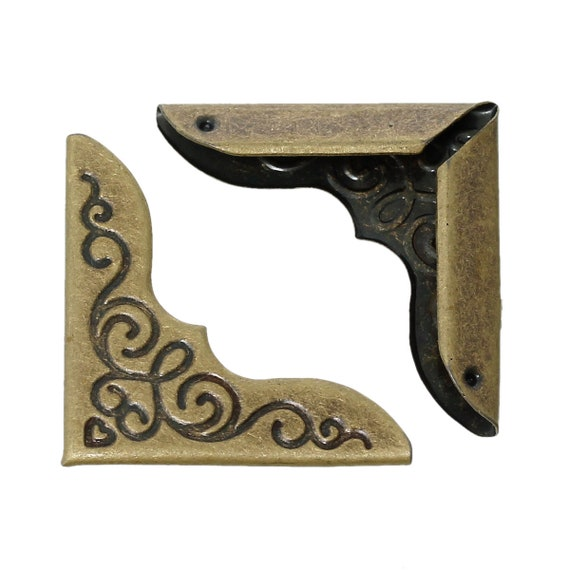 Set of 4 corners / angle - bronze - size: 23 mm