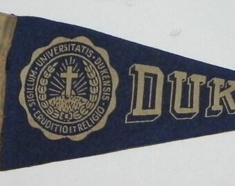 1930's Duke University Mini Pennant - Antique College Memorabilia